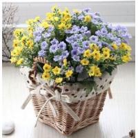 造花 野の花 籐カゴ インテリアフラワー (イエロー&パープル)