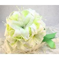 造花 ユリ ブーケ 直径25cm (ホワイト)