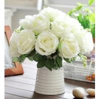 造花 バラ 白 フラワーポット入り 陶器製