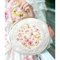 2wayバッグ がま口 ロリータ風 桜 花 レース チェーン付き (ホワイト)