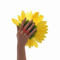 造花 ひまわり 花のみ 持ち手ゴム付き 22cm 10個セット