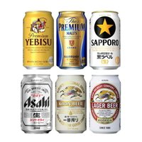 お酒  飲み比べ  プレミアムビール&ビール 6種類 350ml飲み比べセット (1ケース/24本入り)