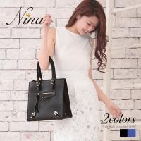 ハンドバッグ レザー ブルー ブラック 【商品説明】 高級感溢れるデザインのハンドバッグがNinaに...