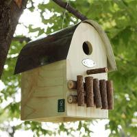 木目を活かしたグリーン色のバードハウス☆余計な装飾をしていないので、小鳥も安心して住めるかも!?庭木...