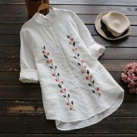 ボタニカル柄刺繍の長袖ブラウスです。コットンリネン素材で着心地抜群♪  【サイズ】 ワンサイズ(F)...