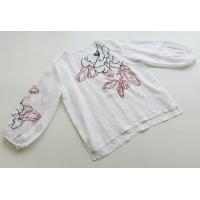 シャツ Tブラウス 花柄 ボタニカル柄 刺繍 春夏 大きいサイズ ミドル丈 長袖 プルオーバー トップス レディースj49686