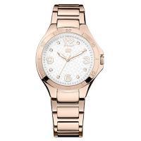 ピンクゴールド×シルバー採用のラウンド型腕時計です。 12時位置にブランドロゴを配置。 インデックス...