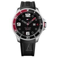 トミーヒルフィガーのラウンド型腕時計です。 ベルトはロゴ入りのお洒落なデザイン。 汗をかいてもべたつ...