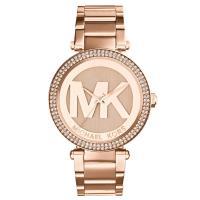 ベゼルにクリスタルが敷き詰められたラウンド型腕時計です。 文字盤に大きく描かれたブランドロゴが特徴。...