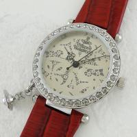 指針は、クラシック感のあるシンプルなデザイン。 赤いレザーベルトがとても可愛いラウンド型腕時計です。...