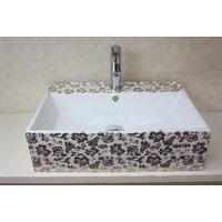 おしゃれな角型の陶器洗面ボウル、排水栓、排水Sトラップセット。 トイレ、洗面所、屋外手洗い場など様々...