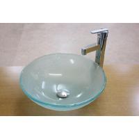 洗面ボウルに蝶の模様の入ったおしゃれなタイプのガラス製洗面ボウル、排水栓、排水Sトラップセットです。...