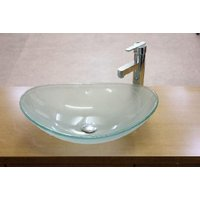 おしゃれなガラス製洗面ボウル(強化ガラス製)、排水栓、排水Sトラップセット。 トイレ、洗面所、屋外手...