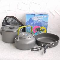 鍋とやかんとフライパンのセットです。  鍋内部にやかんを収納し、フライパンと鍋を重ねることができるの...