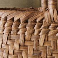 山葡萄のかごバッグと手紡ぎ綿糸を草木染し手織りした布の落とし込み巾着のセット/SHOKUの布 コースター2枚プレゼント中/SA-7356/1/籠