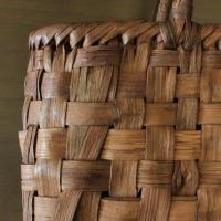 山葡萄 かごバッグと手紡ぎ綿糸を草木染し手織りした布の落とし込み巾着のセット /SHOKUの布 コースター2枚プレゼント中/SA-4810/3/籠