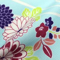 レディース 袷着物 洗える お仕立て上がり カジュアルな小紋柄 (水色に流水と菊) M/Lサイズ
