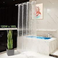 OTraki 浴室カーテン 目隠し 120 x 180cm 防水 シャワーカーテン  アイデアグッズ リング付属 取付簡単 1.2メートル 半透明