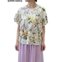 SUPER HAKKA(スーパーハッカ)30/-綿麻SZ天竺野花の小径プリントカットソー/全2色 大人 かわいい おしゃれ デザイン