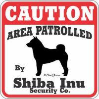 猛犬注意 Caution 犬がいます 看板 サインボード プレート (柴犬)
