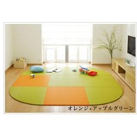 畳 へりなし カラー東レ敷楽彩美 オレンジ2枚+アップルグリーン7枚 楕円形セット|okitatami
