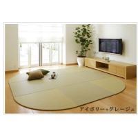 畳 へりなし カラー東レ敷楽彩美 アイボリー4枚+グレージュ5枚 楕円形セット|okitatami
