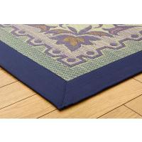 三重織り い草ラグカーペット DXエンティス ブルー 約191×191cm(裏:不織布|okitatami