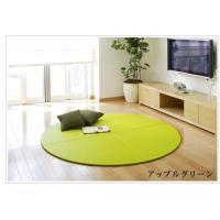 畳 へりなし カラー東レ敷楽彩美 アップルグリーン 扇タイプ4枚の円形畳 okitatami