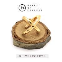 HEART OF CONCEPT/ハートオブコンセプト イヤーカフ クロス 槌目 シングル シルバー925 イエロー ゴールド メンズ レディース HCE-64YE