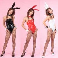 ■□ 商品詳細 □■  ☆光沢のあるエナメルの様なPVC生地の、バニーガール衣装 6点セットに網タイ...