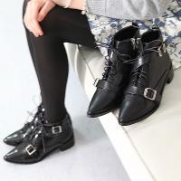 ショートブーツ レディース 太ヒール チャンキーヒール レースアップ ファッション 靴 婦人靴  素...