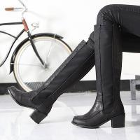 ロングブーツ レディース 太ヒール チャンキーヒール サイドゴア ファッション 靴 婦人靴  素材:...
