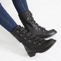 ショートブーツ レディース 太ヒール チャンキーヒール ファッション 靴 婦人靴  素材:合成皮革 ...