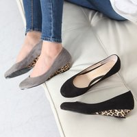 走れるパンプス ウェッジヒール ウェッジソール レオパード ファッション レディース 靴  素材:ス...