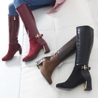 ロングブーツ レディース ブーツ 裏起毛 太ヒール スエード調 冬 ファッション 靴 婦人靴 30代...