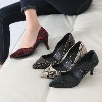 パンプス ポインテッドトゥ ハイヒール パイソン柄 パンプス ファッション レディース 靴 婦人靴 ...