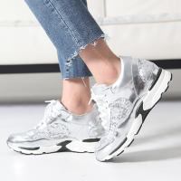 スニーカー レディース レースアップ スポーツ スパンコール ファッション 靴 婦人靴  素材:合成...