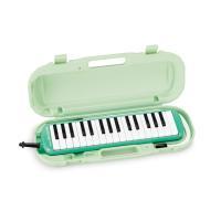 吹く息がそのまま音になるように演奏できるメロディオン。色はグリーンです。 付属のハードケースは卓奏唄...