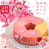 ■商品内容: (1)鉢植えカーネーション4号(ピンク)×1 (2)桜のバウムクーヘン×1(直径約12...