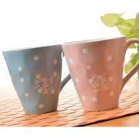 ボリューム感のあるマグカップ パステルカラーのピンクとブルーがとってもキュート!   カフェオレやミ...