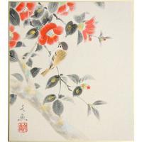日本画色紙「椿」標準色紙 (縦27.3cm×横24.3cm)