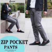 ■商品説明 03色(グレー)、1色展開のテーパードの 効いたジップポケットパンツです。  素材は、ス...