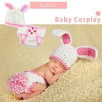 ●BABYラビット(ウサギ)コスチューム● 1:うさ耳ニット帽 2:シッポ付きおむつカバー  年齢対...