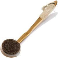 ボディブラシ 天然素材100% 馬毛 背中ブラシ 抗菌加工済み楠竹製 カーブしている長柄 滑り止め 取り外し可能なブラシ 角質除去 深く清潔 体洗いブラシ