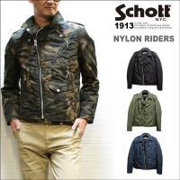【Schott NYLON DOUBLE RIDERS JACKET】 ナイロン素材・ポリエステル素...