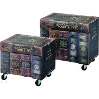 ●本を積み重ねたような、独創的なアンティークデザインの収納ボックス(大小2個セット)  【商品サイズ...