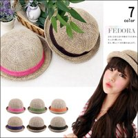 7カラー 麦わら帽子 HAT フェドラ カンカン帽 ハット