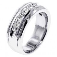 海外バイヤー厳選ブランド 結婚式  アニバーサリーバンド Men's 14k White Gold 1ct TDW Channel Diamond Wedding Ring