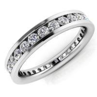 海外バイヤー厳選 ダイヤモンド リング 指輪 1.56ct ラウンド ダイヤモンド SI1,SI2 18K ホワイト ゴールド 3.7ミリ Eternity バンド 5.2gr Channel