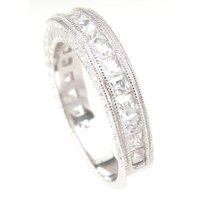 アンブランデッド Sterling Silver Princess-cut Clear Cubic Zirconia Wedding-style Band